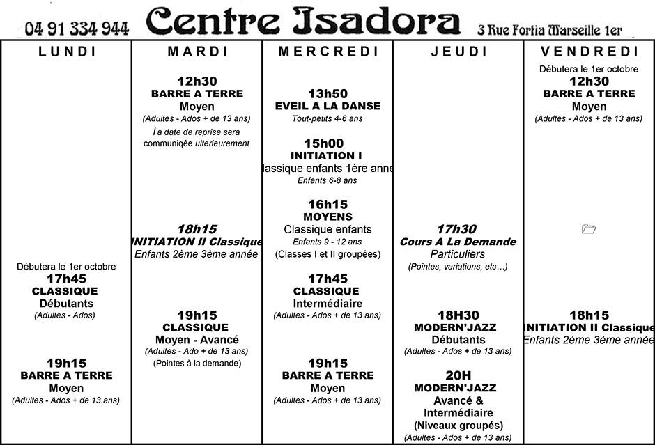 emploi-du-temps-isadora-2019-2020-2